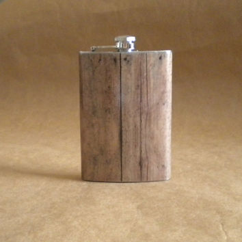Groomsmen Gift Old Barnwood Print Groomsmen or Guy Rustic Country Western Gift  8 ounce Stainless Steel Flask KR2D 3914