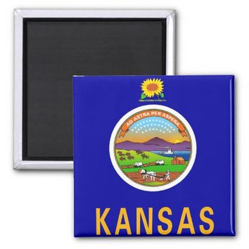 Magnet with Flag of Kansas State - USA