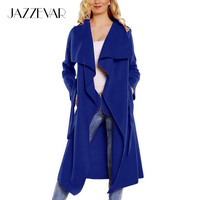 JAZZEVAR 2016 new spring fashion/Casual women's wool blend Trench Coat long Outerwear loose clothes for lady good quality