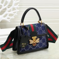 Gucci Bee Letter Women Leather Satchel Handbag Tote Shoulder Bag