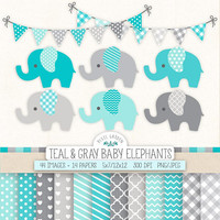 Teal Elephant Clip Art for Baby Shower. Baby Boy Digital Paper & Banners in Teal, Gray, Mint, Blue. Nursery Chevron, Polka Dot Patterns
