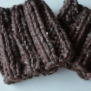 MOCHA TWEED - Boot Cuffs - Hand-Knitted Boot Cuffs, Boot Toppers