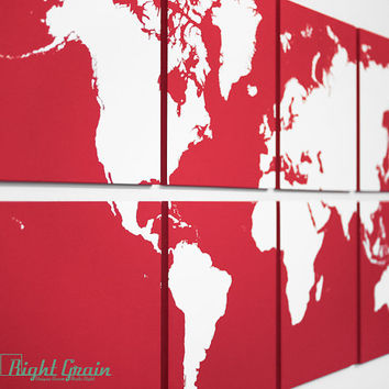 Large World Map Art Painting - Original Screenprint Artwork by RightGrain