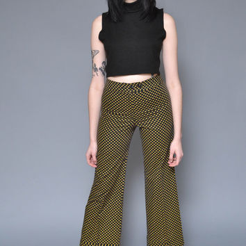 70s Bell Bottoms 60s High Waist Wide Leg Pants M Geometric Printed Minimal Mod Hippie Yellow Blue Preppy Chic Work Pants Trousers