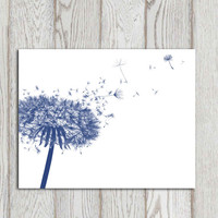 Dandelion decor print Navy blue home decor Navy bedroom decor White wall art Printable dandelion poster Modern art Flower canvas DOWNLOAD