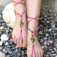 Lace  beaded sandals, Sandals designed by EmofoFashion,foot decoration,anklet hippie shoes yoga anklet beach pool, Gypsy Sandals ,