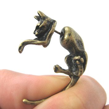 Fake Gauge Earrings: Realistic Kitty Cat Pet Animal Shaped Plug Stud Earrings in Brass