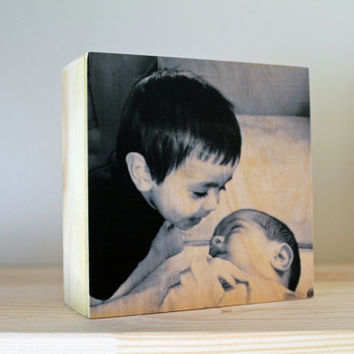 NEW PHOTO PANELS: 4x4 Personalized Photo Gift, Photo Block, New Baby, Photo on Wood, Gift for New Mom, Custom Gift, Home Decor, Brothers