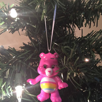 Care Bears Christmas Tree Ornament - Cheer Bear - re-purposed toys