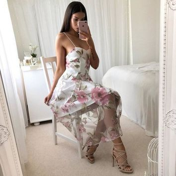 good quality Summer Women's Sling Voile Midi Dress Casual Sexy Backless Sleeveless Midi Dress Floral Print Elegant A-Line Party Dress