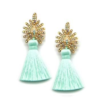 Royal Tassel Earrings in Mint