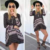 Boho Ethnic Printed Long Sleeve Dress - Black