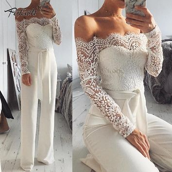 Pofash Jumpsuits For Women 2017 Long Sleeve Lace Patchwork Fashion Full Lenght Rompers Off Shoulder Sexy Long Style Playsuit