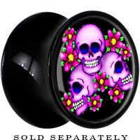 2 Gauge Black Acrylic Floral Three Skulls Saddle Plug | Body Candy Body Jewelry