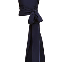 Rosie Assoulin M'O Exclusive: Silk-Faille Bow-Back Top Navy