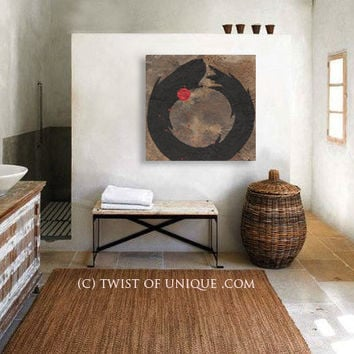 Enso Abstract Painting, Large Zen ORIGINAL Abstract Wall Art, Large Fukinsei painting, -Black, Tan, Brown, White, red, Zen circle