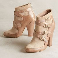 Miss Albright Crossed Suede Booties Gold