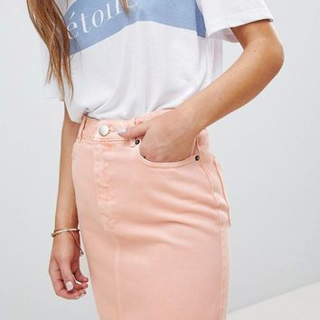 ASOS DESIGN denim original skirt in apricot at asos.com