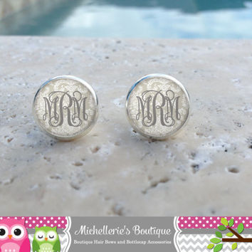Shabby Chic Taupe Damask Monogram Earrings, Monogram Jewelry, Monogram Accessories, Monogram Studs, Monogram Leverbacks, Gifts