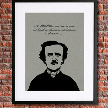 "Edgar Allan Poe Poster Art | 8x10 Instant Download | Literary Quote | Grey and Black | Damask | ""...a dream within a dream"" 