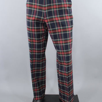 Vintage 1970s Plaid Pants / 70s Golf Pants / Scottish Tartan Corbin / Navy & Red Plaid / Preppy Slacks / Size 36 x 30