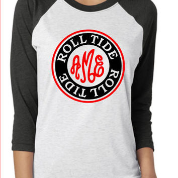 Alabama Roll Tide Monogram Raglan Shirt