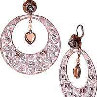 PINKTINA OPAL HEART LARGE HOOP DROP EARRINGS
