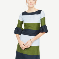 Fluted Sleeve Striped Shift Dress | Ann Taylor