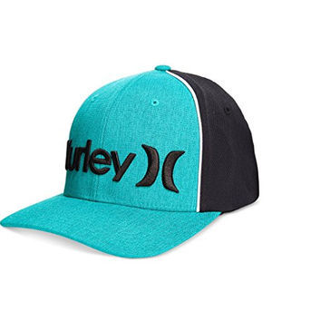 Hurley Men's One And Only Corp Embroidered Logo Flexfit Hat (Small/Medium, Hyper-Jade)