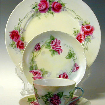 China Place Setting - Hand Painted Rose - Teacup and Saucer- Dessert Plate - Dinner Plate - Rosenthal China - Limoges China -