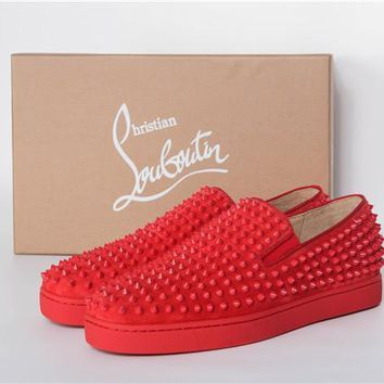 DCCK Christian Louboutin All Red suede skin with gold studs