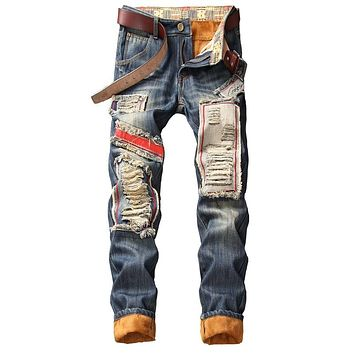 Men's Winter Warm Ripped Jeans Pants Fleece Lined Destroyed Denim Trousers Thick Thermal Distressed Jeans Patchwork Dorpshipping
