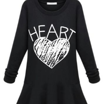 Fall/Winter Heart Printed Loose Long Sleeves Fleece A-line Dress