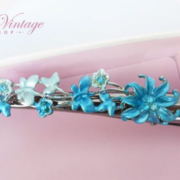 Vintage Butterflies & Flower Alligator Hair Clip, Blue Flower Beak Duck Hair Claw, Silver Metal Jaw Hair Clip