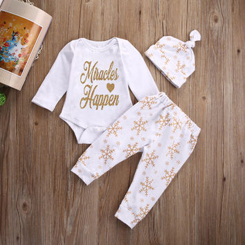 Infant Baby Girl Boy Clothes Miracles Happen Tops Letter Romper+ Pants Hat Snowflake XMAS Outfits Set Clothing