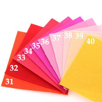 Woven Fabric Thickness Polyester Cloth Felts Decoration Pattern Bundle Sewing Dolls Crafts 40pcs15x15cm