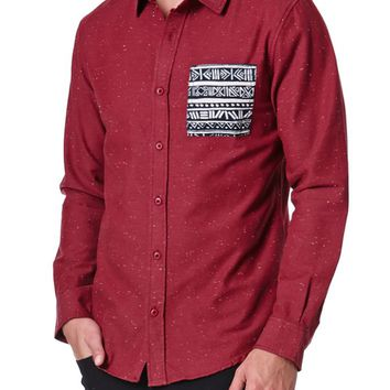 On The Byas Harold Pieced Long Sleeve Woven Shirt - Mens Shirt - Red
