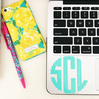 Scallop Monogram Laptop Decal iPad Decal