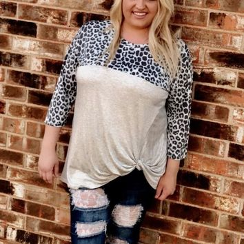 Mint Leopard and Heather Gray Knotted PLUS Top (1XL-3XL)