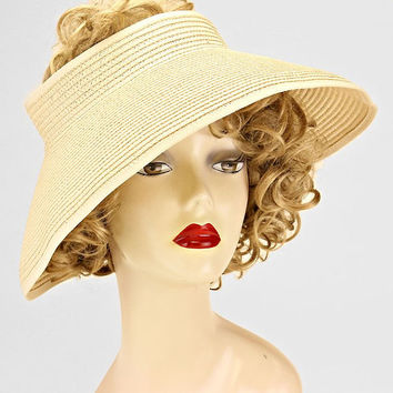 Ivory Straw Open Visor Sweet Bow Trim Packable, Summer Hat, Beach Hat, Sun Hat, Vacation, Pool