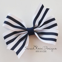 Pinwheel Hairbow, Striped Hairbow, White Navy Blue, Hair Bow, Hair Clips, Petite Bows, 3 Inch, Toddler Hairbow, Hairclip, Toddler Hair Clip