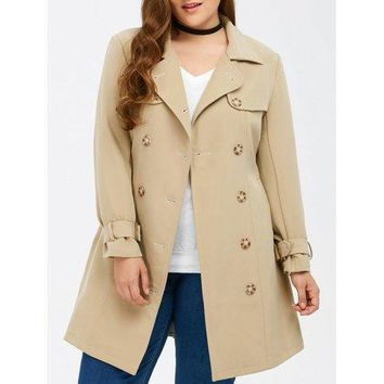 Belted Double Breasted Long Trench Coat - up to a 4xl