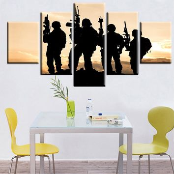 5 Panel United States Army Rangers Sunset Silhouette Wall Art on Canvas