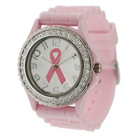 Pink Ribbon Breast Cancer Awareness Silicone Watch