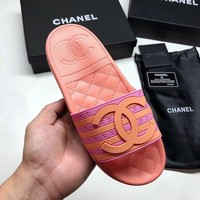 CHANEL Double Clogo striped flat bottom slippers