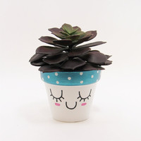 Succulent Planter, Terracotta Pot, Cute Face Planter, Blue Planter, Air Plant Holder, Plant Pot, Flower Pot, Indoor Planter, Mini Planter