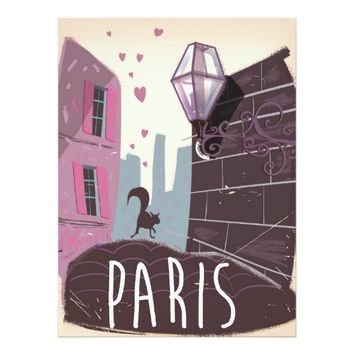 Cat vintage Paris travel poster. 6.5x8.75 Paper Invitation Card