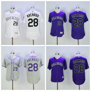 New Flexbase 28 Nolan Arenado Jersey Baseball Colorado Rockies Jerseys Cheap Fashion Stitched Cool Base White Pinstripe Purple Grey