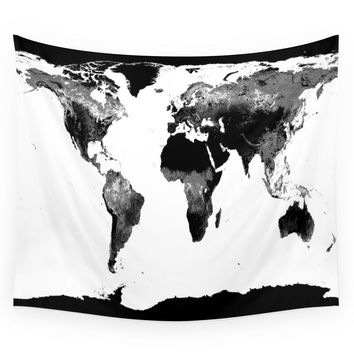 Society6 World Map Black & White Wall Tapestry