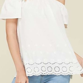 Linen Tunic On and Off Shoulder Crochet Bottom Top